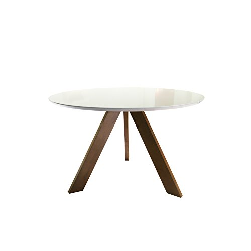 Mid Century Modern Round Dining Table (Matte White Surface)
