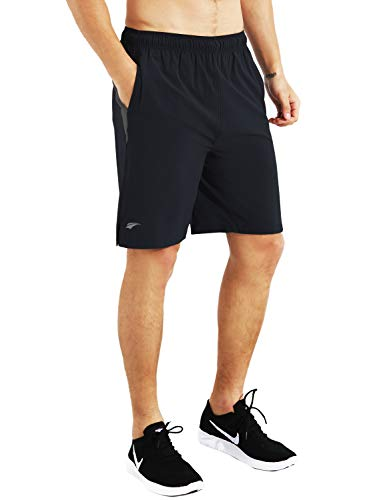 EZRUN Mens 9 Inch Lightweight Running Workout Shorts with Liner Loose-Fit Gym Shorts for Men with Zipper Pockets(Black,L) (9 In Running Shorts)