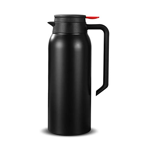 52oz 18/8 Stainless Steel Thermal Coffee Carafe/Double Wall Vacuum Insulated Thermos / 12 Hour Heat Retention / 1.5 Litre(Black)