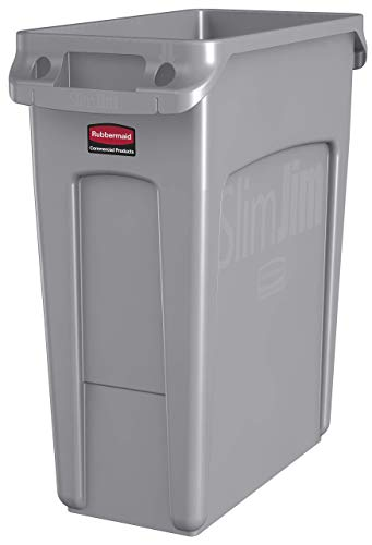(Rubbermaid Commercial Products Slim Jim Plastic Rectangular Trash/Garbage Can with Venting Channels, 16 Gallon, Gray (1971258) (Renewed))