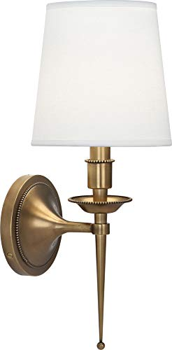 - Robert Abbey 388 Cedric - One Light Wall Sconce, Warm Brass Finish with Ascot White Fabric Shade
