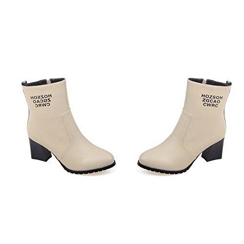 Odomolor Damen Gemischte Farbe Mittler Absatz Rund Zehe PU Leder Reißverschluss Stiefel Cremefarben