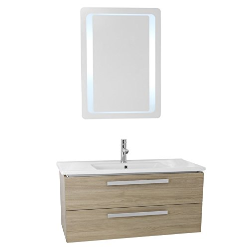 """high-quality ACF ACF DA116 Dadila Wall Mount Bathroom Vanity Set with 2 Drawers and Lighted Mirror Included, 38"""", Style Oak"""