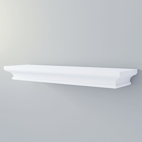 Bathroom Wall Shelf Mantle Decorative Molding for Storage Display 24 inch White Concealed Bracket (Concealed Mounting Hardware)