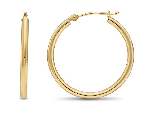 14k Yellow Gold 2mm Tube Polished Round Hoop Earrings, 25mm (1 inch Diameter) (Mm Hoop Round 25)