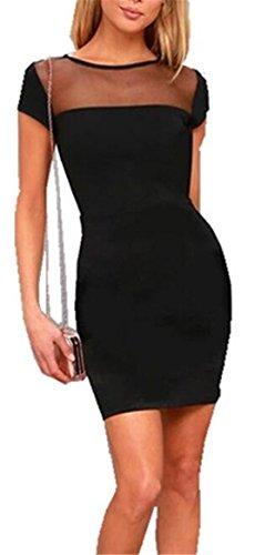 Jaycargogo Femmes Manches Courtes Équipage Mode De Cou Voir À Travers Le Club Slim Fit Mini-robe Noire