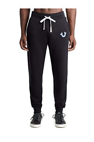 (True Religion Men's Applique Active Jogger Sweatpants in Black (Medium))