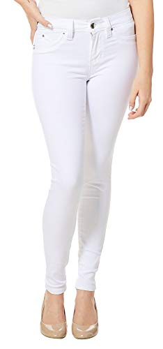 YMI Wannabettabutt Luxe Mid-Rise Super Soft Luxe Skinny Jeans, White (3)