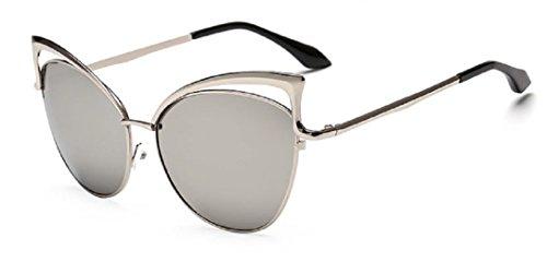 YABINA Sexy Cateye Women Sunglasses Oversized Metal Frame Flat Mirrored Lens - Sunglasses K
