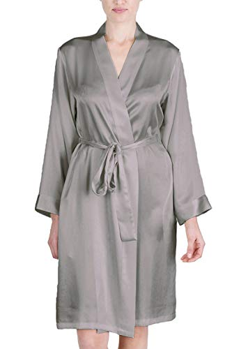 Charmeuse Silk Belt - OSCAR ROSSA Women's Luxury Silk Sleepwear 100% Silk Robe Kimono Silver Grey
