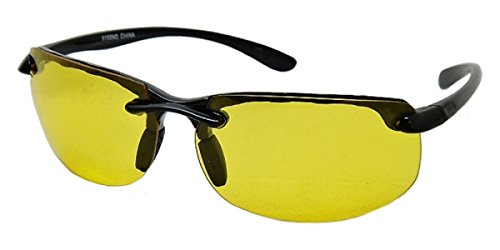 Half Frame Sport Wrap Around Yellow HD Night Driving Glasses Sunglasses , Yellow Lens for Better Night Vision, Rimless Black (Microfiber Cleaning Carrying Pouch - Framed Eyeglasses Thick