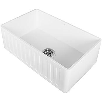 "VIGO VGRA3018CS 30"" x 18"" x 9 5/8"" Undermount Farmhouse Kitchen Sink, Apron Front Single Bowl Composite Solid Surface, Matte White Finish"