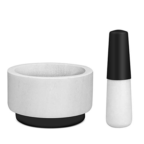 Flexzion Mortar and Pestle Set (White Marble + Silicone) with Non-Slip Silicone Base and Easy Grip Handle - Molcajete Guacamole Bowl Herb Spice Grinder Salsa Maker, Apothecary Kitchen Tool