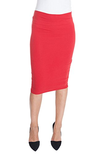 Esteez Cotton Lycra skirt for Women Modest Stretchy CHICAGO RED X-Large (Light Blue Pencil Skirt compare prices)