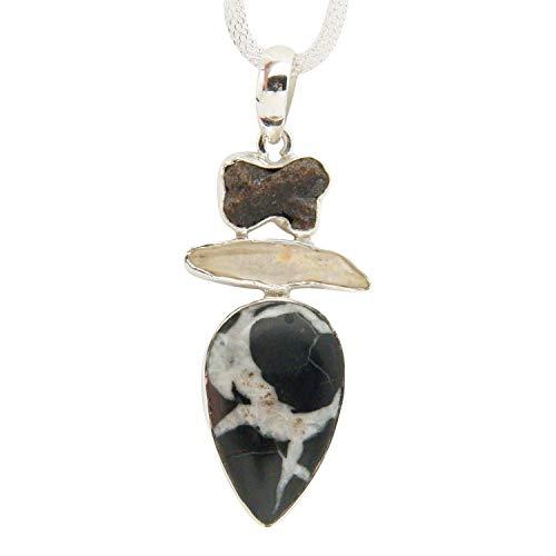Smoky Green Necklace Quartz (Fundamental Rockhound: Septarian, Smoky Quartz and Green Amethyst Gemstone Sterling Silver Pendant Necklace on 18
