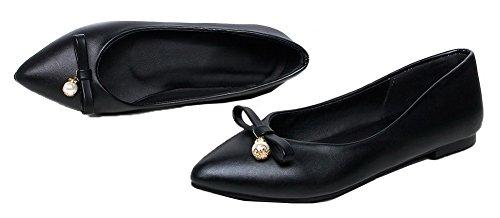 Amoonyfashion Kvinna Fast Pu Låga Klackar Slutna Tå Pådrag Pumpar-shoes Svarta
