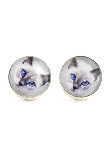 (Siamese Cat Stud Earrings Silver Tone EK30 Blue Eye Kitty Art Posts Fashion Jewelry)