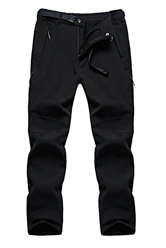 FunnySun Men's Snow Pants Outdoor Water Repellent Windproof Fleece Hiking Ski Cargo Pants US9917M Black M