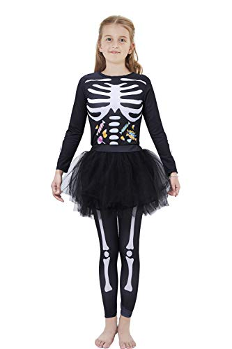 Kids Costumes Halloween Party Classic White Candy Bones Skeleton Clothing Set Long Sleeve Tops + Tutu Tights for Big Girls 11-12 Years Old