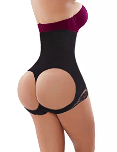 Lelinta Women's Butt Lifter Shaper Seamless Tummy Control Hi-waist Thigh Slimmer,Black-1,XL/2XL(Fit For Waist:23.6