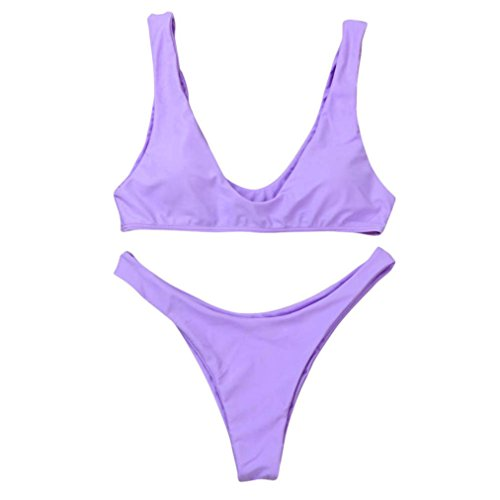 Amanod 2018 hot sale Women Bikini Set Swimwear Push-Up Padded Solid Bra Swimsuit Beachwear -