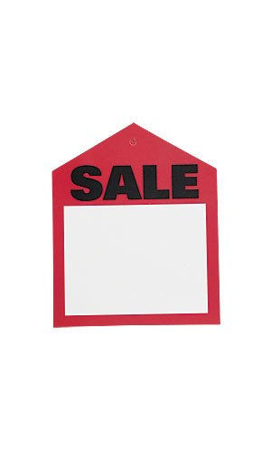 Lot of 50 Retails Small Red Oversized Sales Price Tags 3 Â ¼ â € W x 4'H