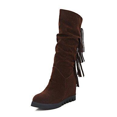 RTRY Zapatos De Mujer De Cuero De Nubuck Novedad Moda Otoño Invierno Confort Botas Botas Talón De Cuña Redonda Mid-Calf Toe Botas Para Oficina &Amp; Vestido De Carrera US5.5 / EU36 / UK3.5 / CN35