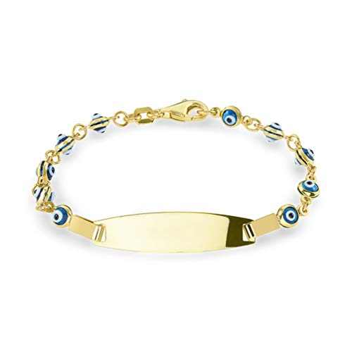 14k Yellow Gold Blue Mini Evil Eye Baby Protection ID Bracelet with Lobster Clasp, 5.5