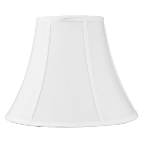 7x14x11 White Bell Shantung Lampshade with Brass Spider fitter By Home Concept - Perfect for table lamps and some desk lamps -Medium, White
