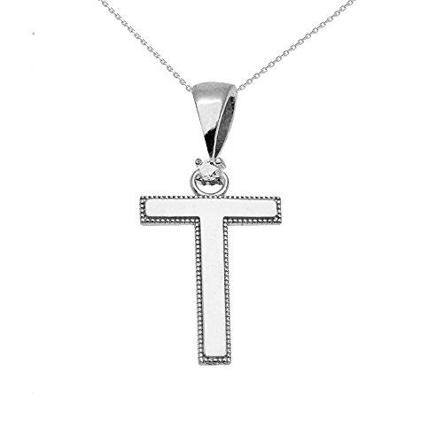 """Collier Femme Pendentif 14 Ct Or Blanc Poli Élevé Milgrain Solitaire Diamant """"T"""" Initiale (Livré avec une 45cm Chaîne)"""