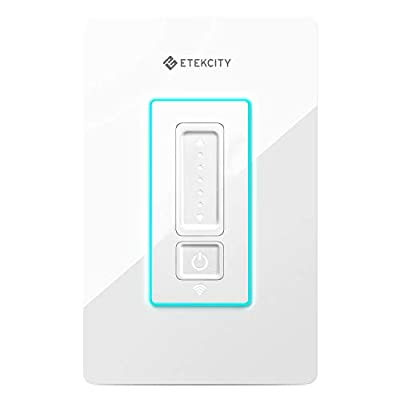 Etekcity ESWD-16 Smart Dimmer, WiFi Light Switch for LED/CFL/Halogen/Incandescent Bulbs, Works with Alexa and Google Home, Neutral Wire Required, FCC/ETL Listed, 2-Year Warranty, White