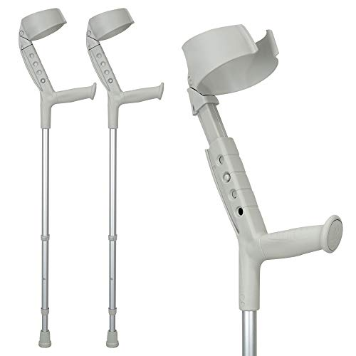 ORTONYX Forearm Crutches with Pivoting Closed-Cuff (1 Pair), Adjustable, Ergonomic Comfortable Wrist Handle, Heavy Duty for Standard and Tall Adults, Lightweight ()