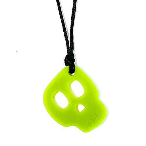 Skull Pendant - Spook - Chew Necklace for Sensory, Oral Motor, Anxiety, Autism, ADHD - Glow in The Dark!