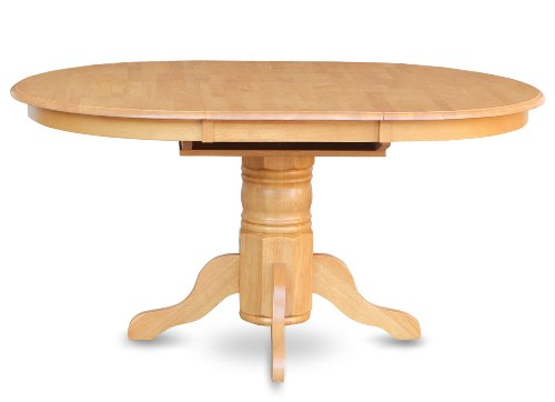 East West Furniture AVT-OAK-TP Single Pedestal Table, Oak Finish (Solid Oak Round Dining Table 6 Chairs)