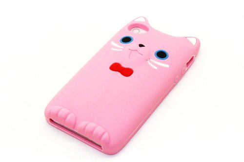 NorthLogic (BABY PINK) 3D Cute Soft Cartoon Cat Silicone Skin Back Case Cover for iPhone 4s or iPhone 4