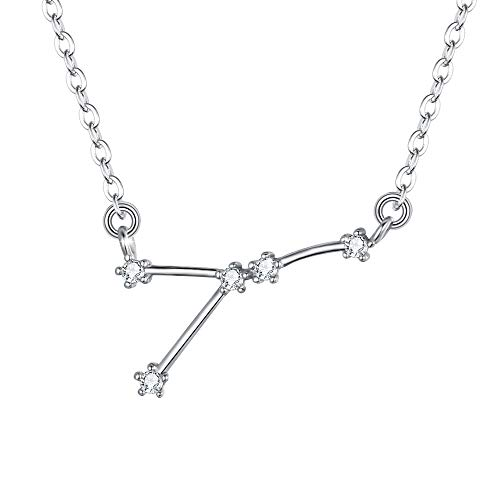 Sterling Silver Cubic Zirconia Cancer Constellation Pendant Necklace 18