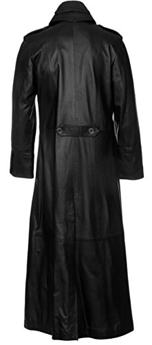Gothic Steampunk Military Style PU Leather Full Length Trench Coat 4