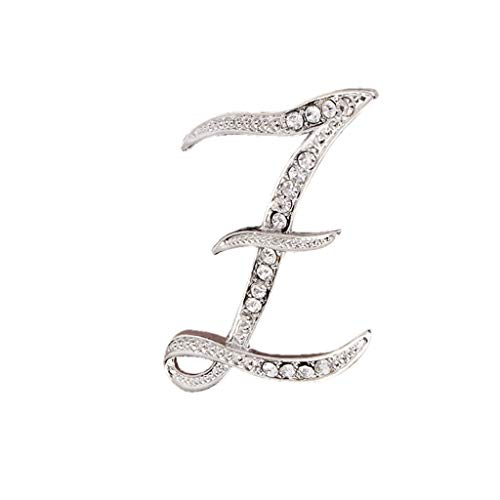 Usstore  English Letters Diamond Brooch Pin Crystal Couple Memorial Jewelry Love Gifts Birthday Present Clothes Decor (Z, one Size)