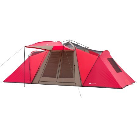 Ozark Trail 21′ x 10′ 3-Room Instant Tent with Awning, Sleeps 12, Red