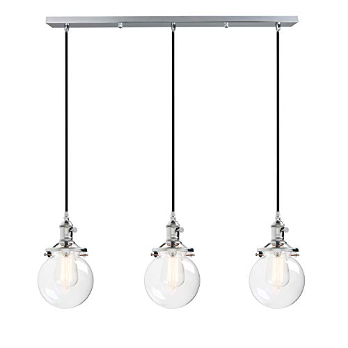 Phansthy 3 Light Ceiling Light Chrome Polished Rustic Chandelier Light with 5.9 Inches Globe Glass Canopy
