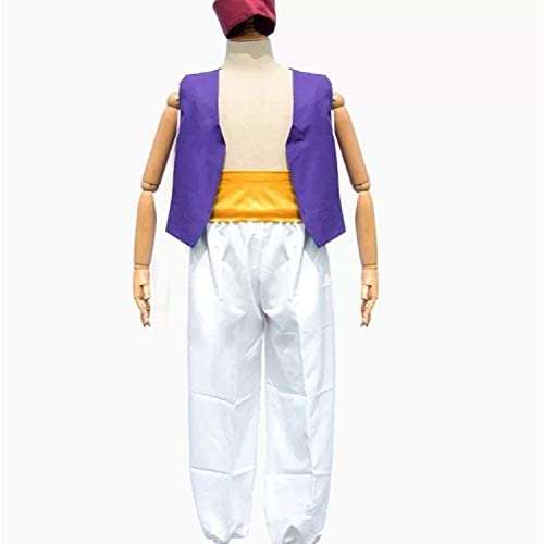 Set di costumi Aladdin 3 pezzi per uomo cappello carnevale e cosplay taglia unica 160-180cm gilet e pantaloni perfetti per il carnevale