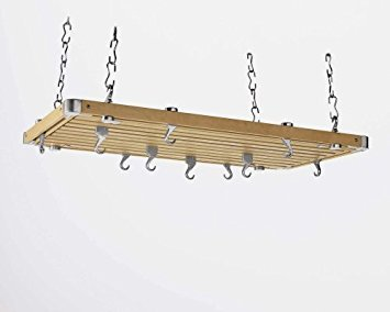 Concept Housewares Pot Rack Natural Colored Rectangular, Natural, 36 inch ()