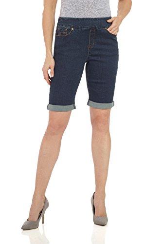 Rekucci Women's Ease In To Comfort Fit Stretch Jean Bermuda Short W/Cuff (10,Dk. Wash) (Short Wash Bermuda Denim)