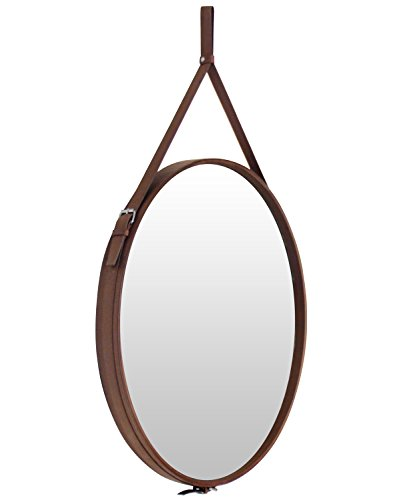 Round Hanging Decorative Wall Mirror with PU Leather Frame and Hanging Strap Silver Hardware Hanger/Hook (Brown, 23.6inchs) (Leather Frames Mirror)