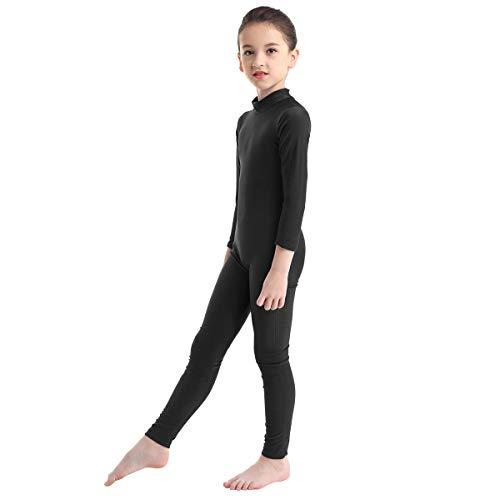 inlzdz Kids Boys Girls Spandex Full Body Unitard Mock Neck Gymnastics Sports Bodysuit Jumpsuit Dancewear Black 4-5