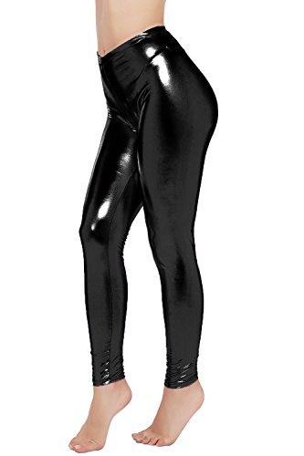 PINKPHOENIXFLY Womens Sexy Shiny Faux Leather Leggings Pants (M, Black)