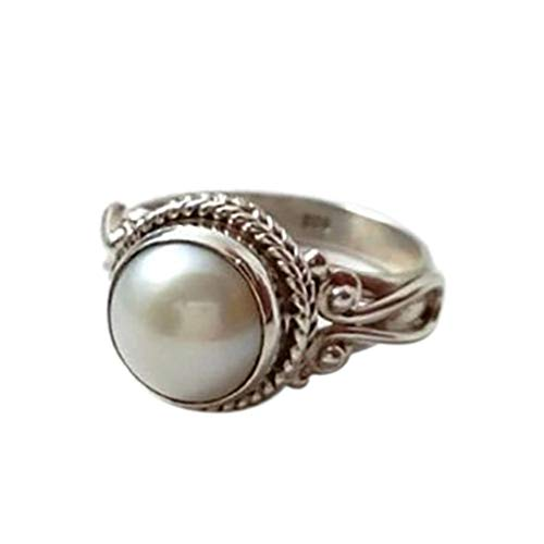 oo Antique White Pearl Retro Wedding Engagement Ring Silver Statement Jewelry US Size 6-10(Silver,Size 10) ()