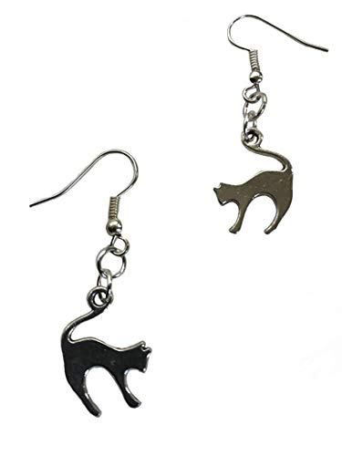 Cat earrings Jewelry pewter antique silver tone