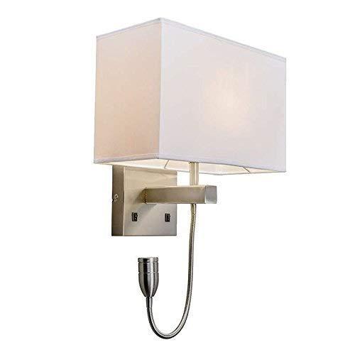 3 Nickel Matt Light - Happy shopping Wall Lights Modern Wall lamp Bergamo Steel/Silver/Nickel matt with Off-White Shade/Interior Lighting/Living Room lamp/Bedroom/Kitchen/Bedside lamp Metal