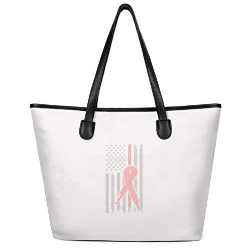 Ladies Breast-Cancer-Pink-Ribbon-USA-American-Flag- Canvas Purses Large Capacity Tote Foldable Shopper Handbag Creamy-White